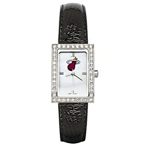 CZNSW22361Q-w-Black Leather Miami Heat Watch with Cz Frame by NBA Officially Licensed