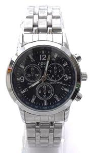 Mens Black/Dark Blue Chronograph Look Stainless Steel Sports Watch