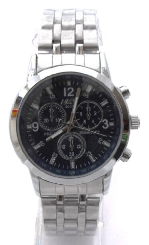 Mens Black/Dark Blue Chronograph Look Stainless Steel Sports Watch