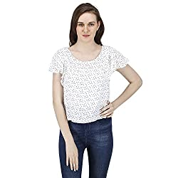 Women's Polka Dotted Crop Top, Short Frilled Sleeves, Trendy/Styish/Smart/Casual Top Wear for Women and Girls, White