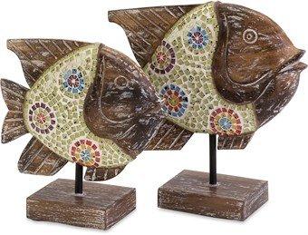 Imax 83019-2 Kawela Mosaic Glass Fish, Set Of 2