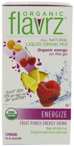 Flavrz Drink Mix Organic Fruit Punch Energy Drink, 5 Count Single Serve Foil Packets (Pack of 6)