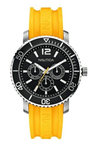 Nautica  - Reloj Analógico de Cuarzo unisex, correa de Goma color Amarillo