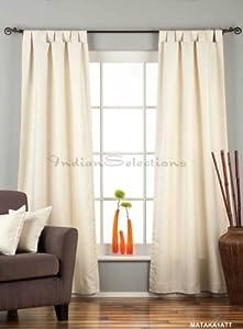 Cream Tab Top Matka Raw Silk Curtain / Drape - 43W x 84L - Piece