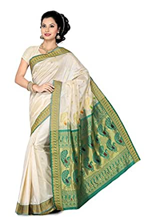 ISHIN Cotton Silk Green Saree available at Amazon for Rs.3899