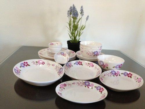 24-Piece Melamine Dinnerware Set Bowl Plate Spoon Flower V212 (Fda Compliance)
