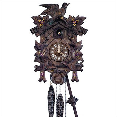 Schneider Black Forest 12 Inch Musical Painted Flowers Cuckoo Clock