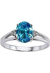 Tommaso Design Genuine Blue Topaz Ring