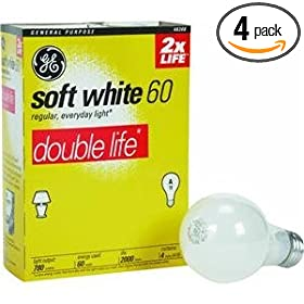  GE 48308 60-Watt 780-Lumen A19 Double Life Light Bulb, Soft White, 4-Pack