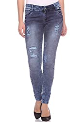 Fasnoya Women's Distressed & Patched Up Skinny Fit Jeans