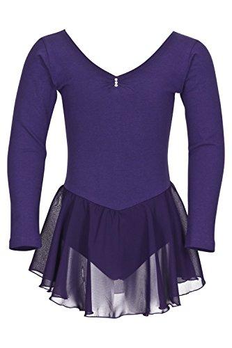 """tanzmuster Kinder Langarm Ballettanzug Ballett Trikot """"Anna"""" mit Chiffon Röckchen. Edles Ballettkleid mit Strass Applikation am Ausschnitt in rosa, weiß, schwarz, hellblau, pink und lila."""
