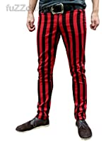 Mens Striped Drainpipe Thick Red Black Stripes Mod Indie Trousers