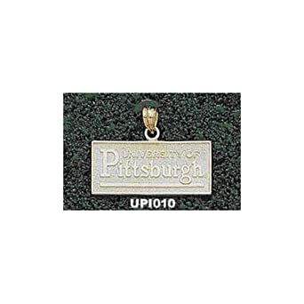 Pittsburgh Panthers Rectangular University of Pittsburgh Pendant - 14KT Gold Jewelry by Logo Art