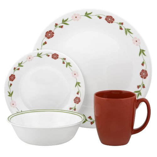 Corelle Contours Spring Pink 16-Piece Dinnerware Set, Service for 4