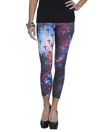 Wet Seal Women's Galaxy Cross Print Legging L Multi Colored
