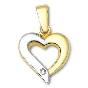 Miore Damen-Anhänger Herz 9 Karat 375 Bicolor Brillant MA985P