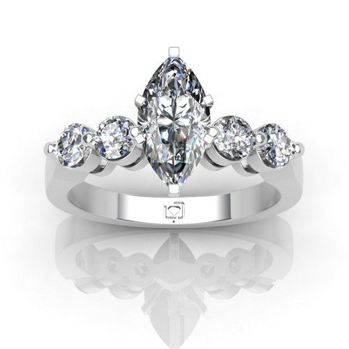 Platinum If You Like The Look Of Diamonds Without A Lot Of Metal This Shared Prong Engagement Setting Offers Just That With Four Gorgeous Round Brilliant Diamond Side Stones 5/8 Ctw. This Item Includes A Free Cubic Zirconia Center In The Shape Shown.