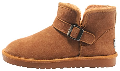 Rock Me Men'S Soft Wool Thick Ankle Buckle Snow Boots Gentle I(9.5 D(M) Us, Chestnut) front-413637