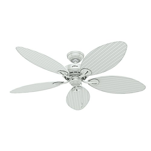 Hunter Fan Company 54097 Bayview 54-Inch ETL Damp Listed Ceiling Fan with Five white Wicker/White Palm Leaf Plastic Blades, White (Fans Hunter compare prices)