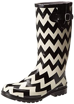 Nomad Footwear Women's Puddles Rainboot, Black/White Chevron, 11 M US
