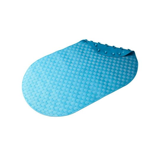 Croydex Basket Weave Bath Mat, 15-3/8 by 27-1/4-Inch, Blue - 1