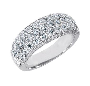 1.50 ct TTW Lady's Round Cut Diamond Wedding Band Ring in 18 kt White Gold