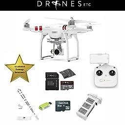 DJI Phantom 3 Standard Quadcopter Drone Bundle with 2.7k HD Video Camera + 1 Year Accidental Damage Insurance! Free Extras: 64GB SD Card + USB Card Reader + Lens Cloth + Drones Etc. Lanyard!