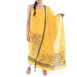 Kiara Crafts Women's Cotton Silk Unstitched Dress Material (kc-010_Yellow_freesize)
