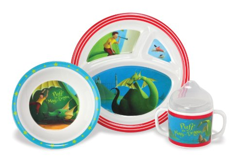 Kids Preferred Melamine Feeding Set, Puff the Magic Dragon - 1