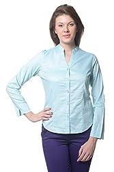 Meira Full Sleeve Chinese Collar PoolGreen Samray Shirt for Women (Large)