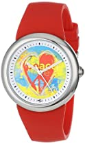 "PeaceLove Unisex F36S-PL-R  Round Stainless Steel Red Silicone Strap and ""Duardo"" Art Dial Watch"