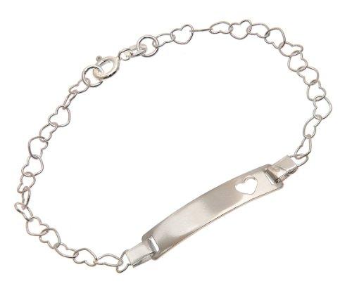 Children's Heart Bracelet 16cm, Sterling Silver, Model SDID7026