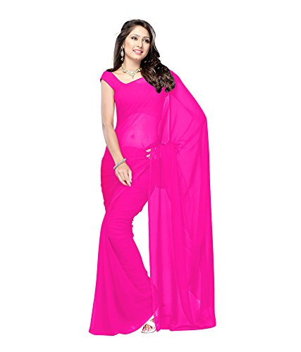 Lovely Look Latest collection of Plain Sarees in Georgette Fabric & in attractive Dark Pink Color