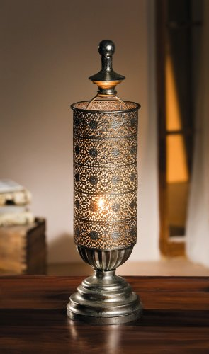 Metal Oriental-style Table Candle Lantern – Mirage Antique Silver Candle Lantern Product SKU: CL221833