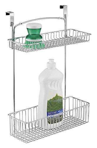 mDesign cestino organizzatore per armadietto da cucina per alluminio, spugne, accessori per la pulizia - 2 livelli, Cromato