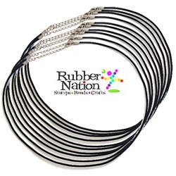 "Neck Cords Rubber 2Mm W/Lobster Clasp 18"" Black 10 Pack"