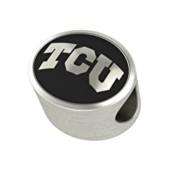 TCU Texas Christian Collegiate Bead Fits Most Pandora Style Bracelets Including Pandora Chamilia Biagi Zable Troll and More. High Quality Bead in Stock for Immediate Shipping