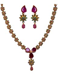 Gehna Ruby Pear & Emerald Stone Studded Necklace & Earring Set In Silver Alloyed Metal