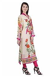 Women's Stitched Rakhi Festive Viscose Georgette Kurta with Peacock detail (Size 44)