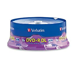 Verbatim DVD+R DL AZO 8.5 GB 8x-10x Branded Double Layer Recordable Disc, 30-Disc Spindle 96542 by Verbatim