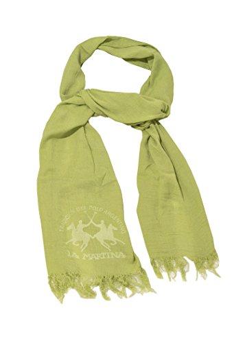 LA MARTINA sciarpa verde unisex con maxi logo