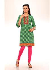 Red Chilly Women's Cotton Printed Floral Kurti-Green