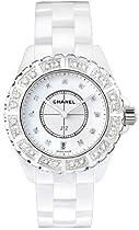 Chanel J12 Diamond Bezel White Ceramic Unisex Watch H2430