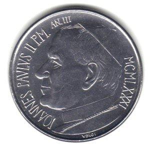1981 Vatican City 50 Lire Coin KM#157 - Pope John Paul II (Pope John Paul Ii Coin compare prices)