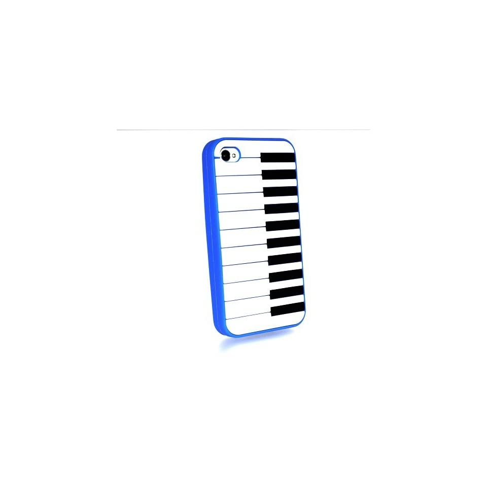 Blue Piano Keyboard Style Design Soft Silicone Skin Gel Cover Case for Verizon At&t Sprint Apple Iphone 4 4s + Microfiber Bag