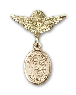 Gold Filled Baby Badge with St. Anthony of Padua Charm and Angel w/Wings Badge Pin St. Anthony of Padua is the Patron Saint of Lost Articles/The Poor