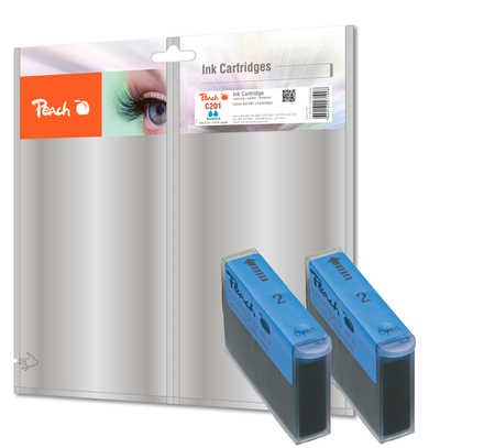 Peach C201 c Doppelpack Tintenpatronen, kompatibel zu Canon, Xerox, Apple BJI-201 c, cyan