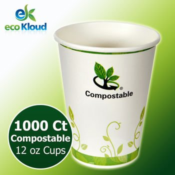 Eco Kloud 12 Oz Hot & Cold Compostable Pla Paper Cups 1000 Ct