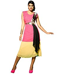 The Ethnic Chic Women's Pink, Beige & Black Color Faux Georgette Kurti.