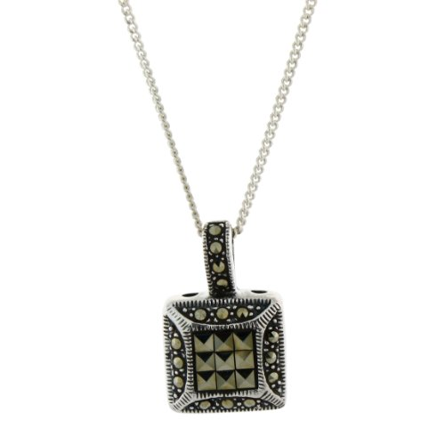 Sterling Silver and Marcasite Pendant Necklace on 16